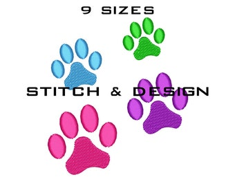 Paw Print Embroidery Design - Paw Machine Embroidery Download