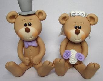 Bride And Groom Bear Wedding Cake Topper,