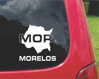 2 Pieces Morelos Mexico Outline Map  Stickers Decals 20 Colors To Choose From.  U.S.A Free Shipping