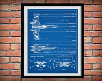 1980 Star Wars X-Wing Fighter Drawing - Schematic - Art Print - Poster Print - George Lucas - Lucas film - Return of the Jedi