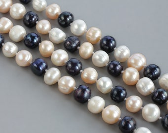 Extra Long Multicolour Freshwater Pearl Knotted Necklace / Great Gatsby Inspired Pearl Necklace