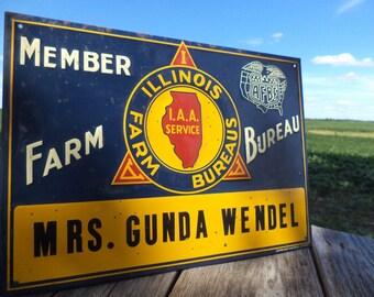 13.5 x 9.5 Member Illinois Farm Bureau Wendel Vintage Metal Advertising Sign