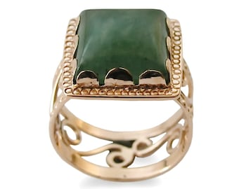 Gr ner stein gold ring 14k gelbgold runde gr ne quarz ring for Verlobungsring blauer stein