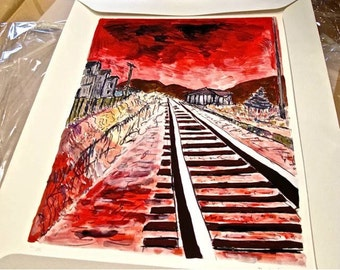 Bob  Dylan Drawn Blank  Series Train Tracks - Red signed limited edition. New