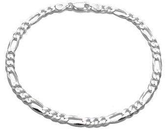 Men's / Ladies' 925 Sterling Silver Figaro Bracelet - 120 Gauge 5 mm - 7 inch/8 inch
