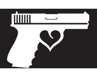 Gun with heart trigger vinyl decal FREE SHIPPING (many colors available)