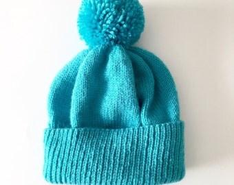 Teal knitted hat - teal adult hat - teal pom-pom hat - custom hat - custom knitted hat - skiing hat