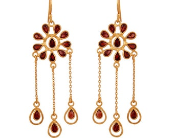 Gold Plated Jewelry, 925 Sterling Silver Earring, Garnet Earring, Garnet Dangle Earring, Chandelier Earring, Bridal Earring