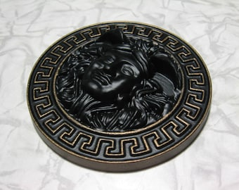 Greek medusa Head Gorgon mask locket wooden roundel medallion wall sticker dark bronze man