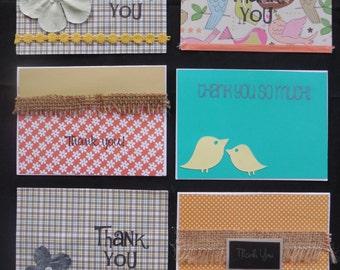 Thank You Card Set- Handmade Thank You Card Set- Embellished Thank You Cards- Handmade Cards- Set of Handmade Thank You Cards