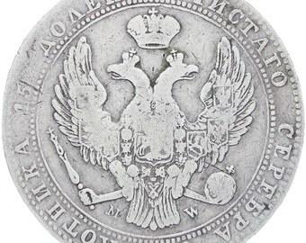 Poland Russia Empire Nikolai I 1838 3/4 Rouble 5 Złotych Silver Coin  MW