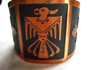 Solid Copper Native Cuff Vintage Bracelet