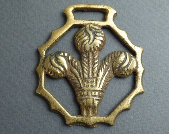 English Prince of Wales' feathers horse brass