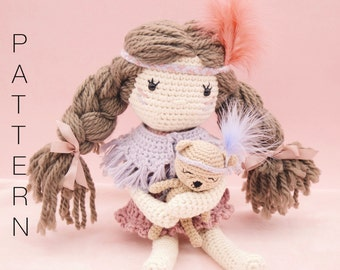 Amigurumi crochet doll - Scarlett crochet doll PATTERN ONLY (English)