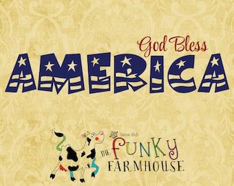 "SVG & PNG - ""God Bless AMERICA"""