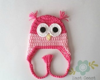 Pink Owl Hat - Baby to Adult Size Available - Winter Owl Hat - Crochet Owl Hat - Pink Hat - Earflap - Baby Girl Hat - Woodland Animal Hat