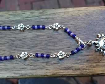 Blue Flower and sun charm bracelet  #190