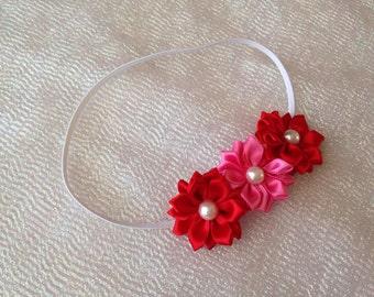 Pink/Red Flower Headbands/Newborn Headband/V-Day Heaband/Valentines Day Headband/Premie Headband/Newborn Headband/Infant Headband