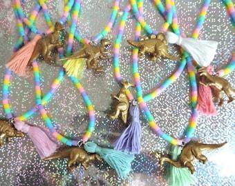 Rainbow Dinosaur Statement Necklace