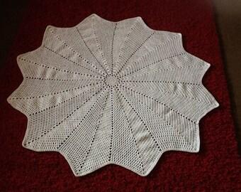 Hand crochet white 12 point baby shawl