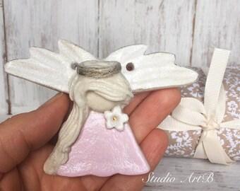 Sweet Little Angel/Handmade with love/Salt dough Angel/Unique Art/Pink Art/Decor/Figurine Angel/Christmas/Ornaments/Souvenir/Best Gift Ever