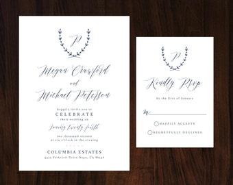 Navy Wedding Invitation, Monogram Wedding Invitation, Elegant Navy Wedding Invitation