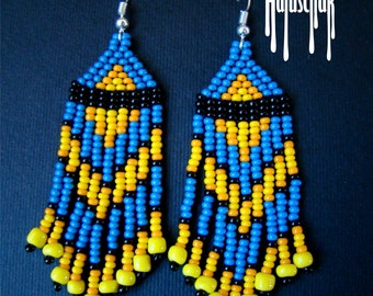 Fringe Earrings, Seed Bead Earrings, Beaded Earrings, Native American Beaded Earrings, Seed Bead Jewelry, Beaded Jewelry blue and yellow