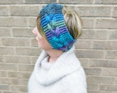 Hand Knitted Ladies Headband Ear Warmer Purple Blue Green Cables Wool Rich Yarn Festival Season Gift Idea Ready to ship from UK