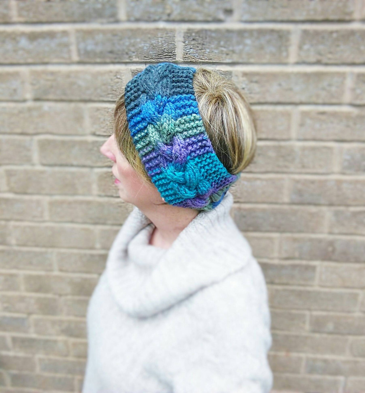 Hand Knitted Headbands Patterns : Hand Knitted Ladies Headband Ear Warmer Purple Blue Green