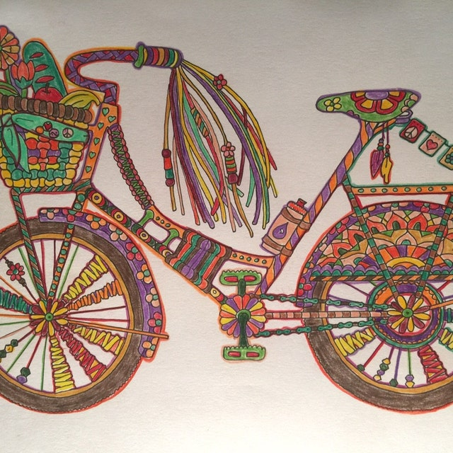 Bicycle adult coloring page by Candy Hippie http://candyhippie.com
