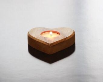 Aelia Olive wood tealight candle Holder