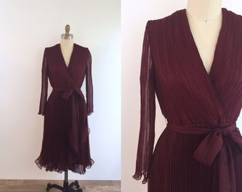 1970s Dark Red Party Dress | medium/large