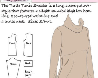 Hourglass Patterns©-Turtle Tunic Long Sleeve Sweater, Women's Sewing Pattern with Slight High Low Hem and turtleneck.  Sizes S/M/L.