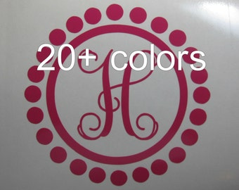 Yeti Colster Monogram Decal / Sticker *Available in 24 Colors* one letter, circles, dots, polka dot, single