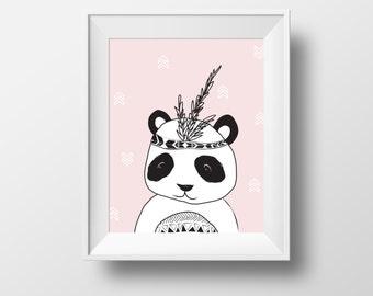 Panda print, Panda Nursery Wall Art Printable, Animal Nursery Print, Panda Bear Kids Art Print, Black White Nursery Decor, Kids Print