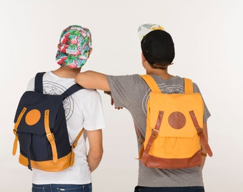 Canvas Backpack in Mustard  + Basic Crew Neck T-Shirt