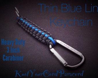 Thin Blue Line - Paracord Key Chain - Paracord Key Fob - Heavy Duty - Black Carabiner - Law Enforcement Keychain - Lanyard