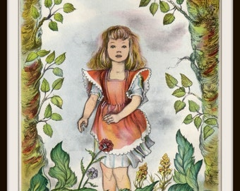 Little Girl in Woods Book Print (1945): Frameable Nursery Wall Art, Nature Watercolor Painting, Forest Picture, Bedroom Home Decor, Trees