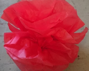 12 Red Tissue Paper Pom Poms. Tissue Flowers.  Paper Flowers.  Red Paper Flowers.  Party Decor Flowers. DIY Garland