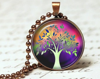 Tree of life Rainbow Pendant, Present for her, Pendant necklace, Glass pendant, Necklace