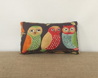 Brown Owl Pillow, Lumbar pillow, orange, green, red, blue, two sided pillow