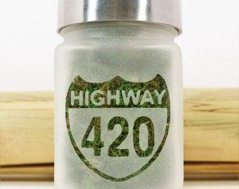 Highway 420 Stash Jar - 420 Novelty Stoner Gift - Weed Accessories