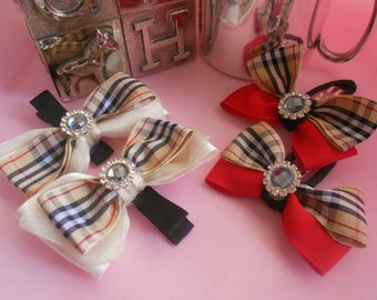 Plaid Print Hair Bow Clips, Red or Ivory - Shipping Free