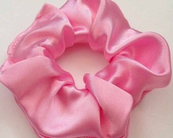 Baby pink satin hair scrunchie