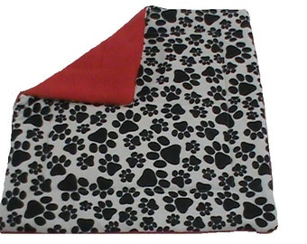 "Catnip Mat, 13"" catnip toy with black paw print and red"