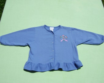 vintage carters girls jacket size 3t see measurements blue with floral design in front and ruffle at bottom