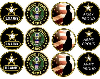US ARMY EDIBLE Images ( 2.5 Inch ) Cupcake or Cookie Toppers