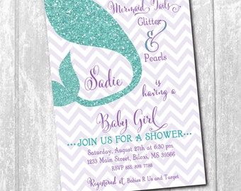 "Baby Shower Invitation..""Mermaid Tails..."" /digital file or printing/wording and colors can be changed"