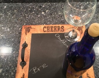 Wine tray. Cheese tray, Decorative wine tray. Wine tray decor, chalk board paint, chalk board, Wine gift, gift for wine lovers