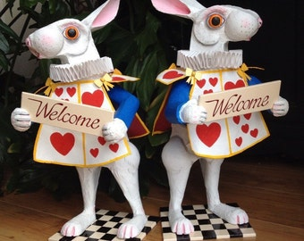 White rabbit from Alice in Wonderland Two New White rabbits in welcome pose, hand-painted papier mache sculpture.